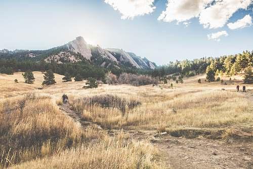 boulder brown grass field near gray mountain under white sky field