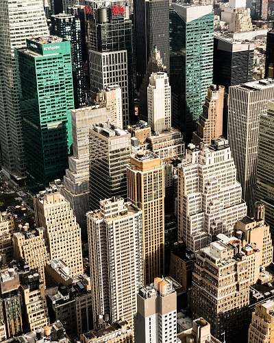 person aerial photography of high-rise buildings people