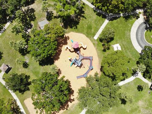 person aerial view of children's playground grass