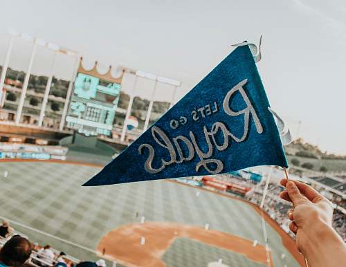 person blue and white Lets Go Royal pennant flag