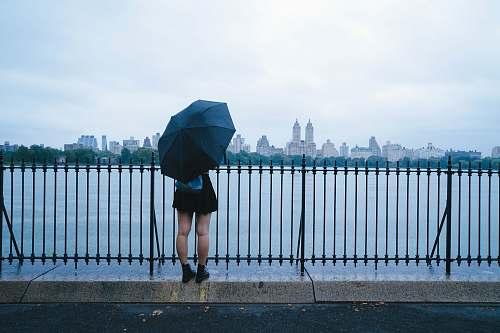 person person holding umbrella near sea railing