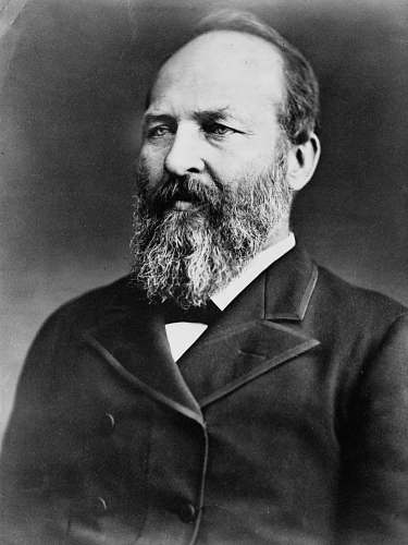 black-and-white President James Garfield face