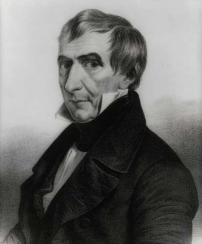 black-and-white President William Henry Harrison face
