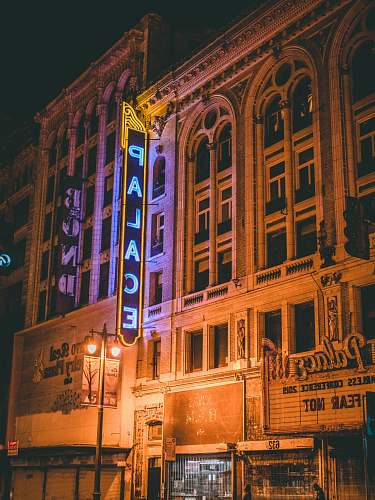 downtown Palace building during nighttime urban
