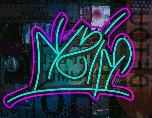 graffiti teal and purple Risk neon signage neon
