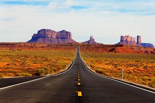 road asphalt road in the middle of the desert desert