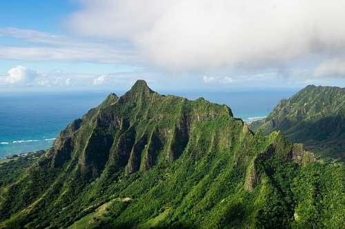 outdoors aerial photo mountain peak scenery