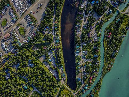 kenai aerial photography of body of water and houses aerial view