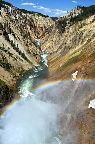 rainbow aerial photography of narrow river with forming rainbow outdoors