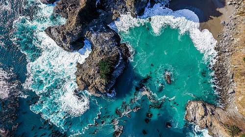 outdoors aerial photography of seashore scenery