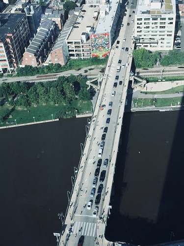 outdoors aerial photography of vehicles traveling on bridge during daytime landscape