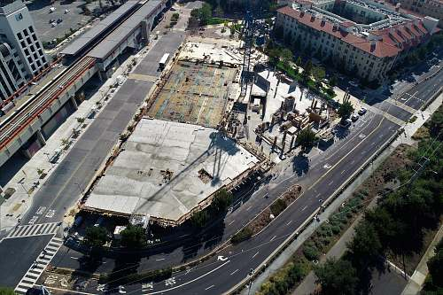 outdoors bird's-eye photography of road near buildings and trees landscape