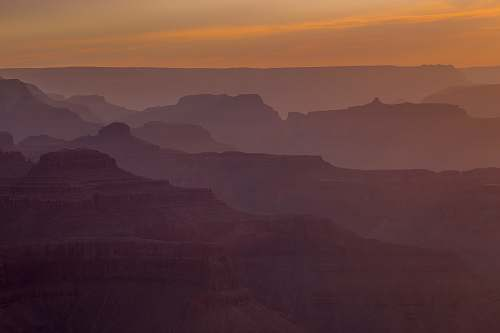 dusk canyon with fog sunset