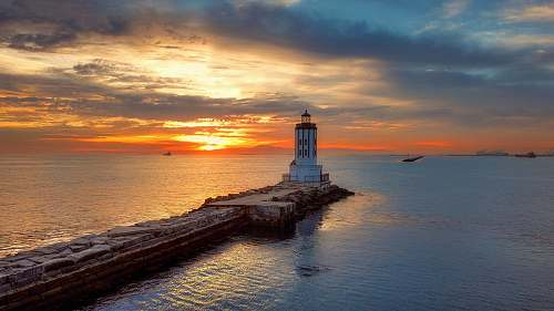 coast lighthouse during night water