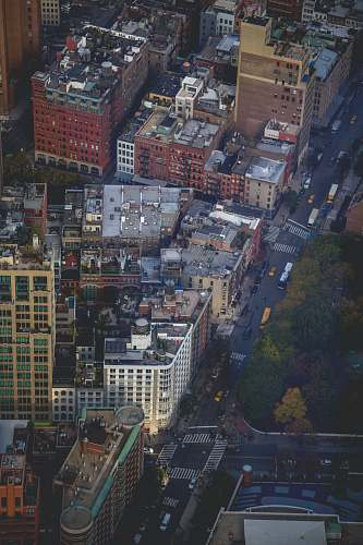 aerial view top view of city buildings landscape