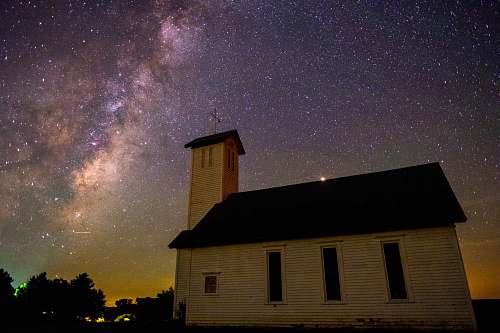 galaxy church near trees during night milky way