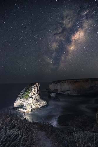 photo galaxy gray rock on body of water under stars milky way free for commercial use images