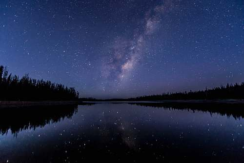 astronomy silhouette of trees near body of water under sky with stars galaxy