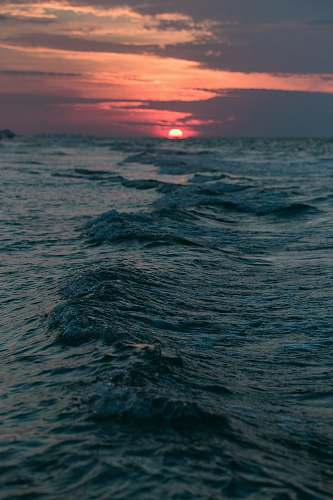 sea view of sunset water