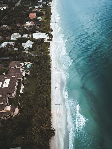 landscape aerial view of buildings near ocean nature