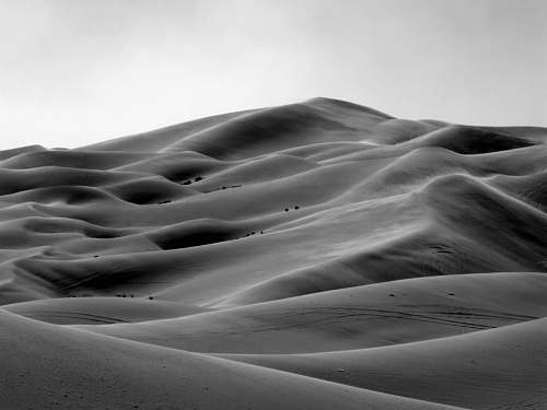 black-and-white grayscale photo of desert sand