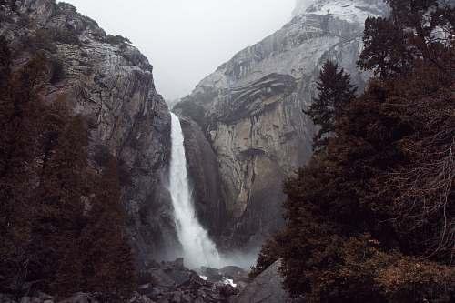 waterfall Skogafoss, Ice land cliff