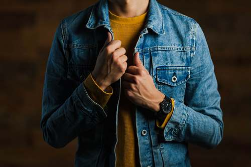 person man wearing blue denim jacket human