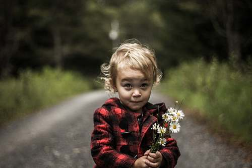 people girl wearing red and black plaid jacket holding flower human
