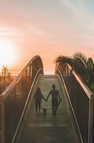 human man and woman holding hand while walking on bridge people