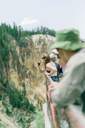 human people on bridge taking photos people