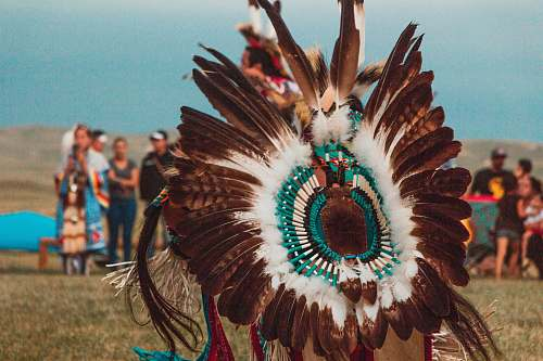 human person wearing brown, white, and teal feather costume people
