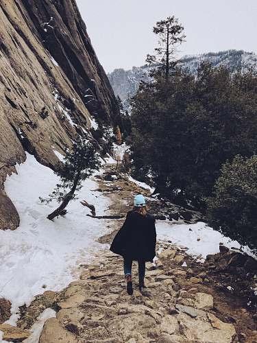 human woman on hiking trail people