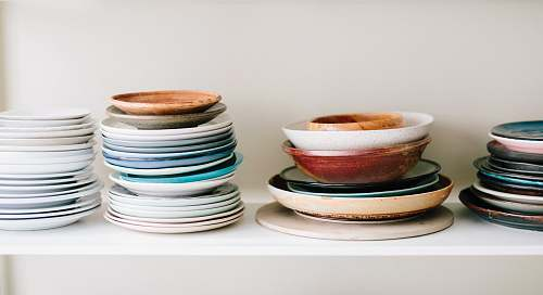 food assorted-color ceramic plates and saucers kitchen