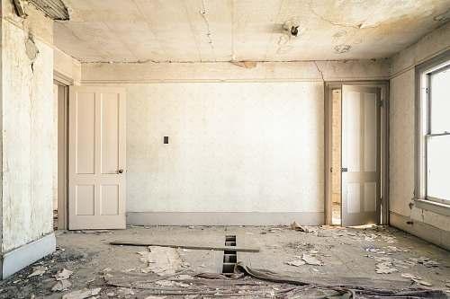 interior gray concrete walls with broken floor house