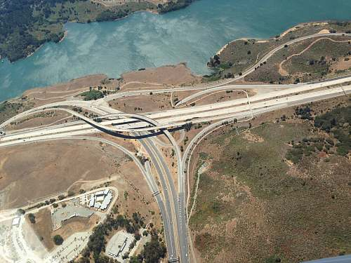 freeway aerial photography of highway aerial view