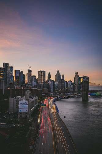 freeway aerial view of buildings bridge
