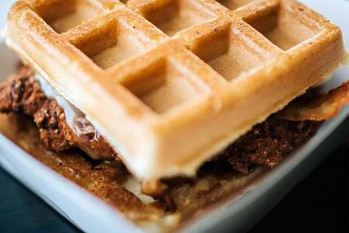 food waffles on white plate waffle