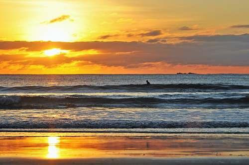 beach landscape photography of sea shore under sunset ocean