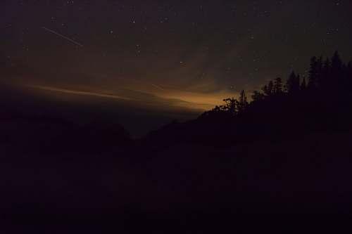night silhouette of mountain sunset
