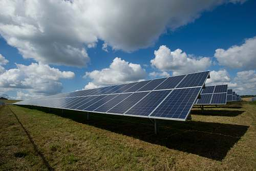 solar solar panels on green field energy