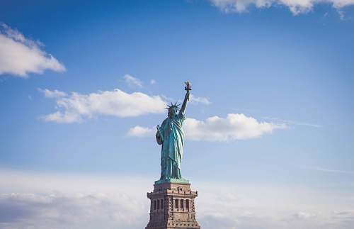 new york Statue of Liberty, New York under white and blue cloudy skies art