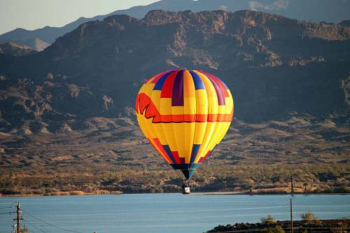 photo hot air balloon yellow hot air balloon lake havasu city free for commercial use images