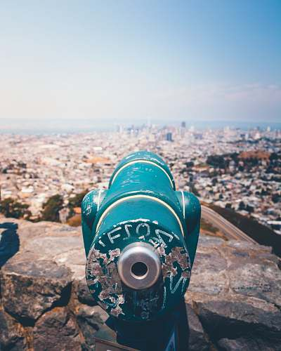 san francisco elevated view of cityscape binoculars