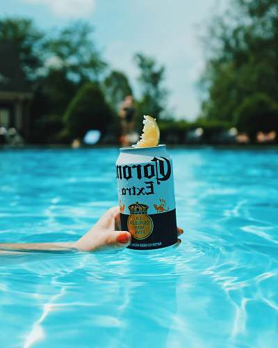 drink Corona extra beer can on swimming pool nashville