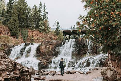 gooseberry falls state park person near waterfalls two harbors
