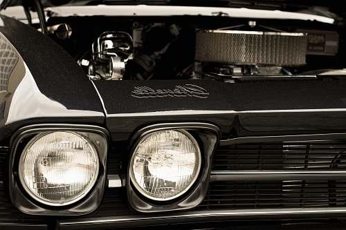 light black and white vehicle engine bay headlight