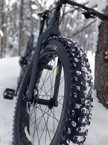 bike black hardtail bike leaning on tree with snow covered field transportation