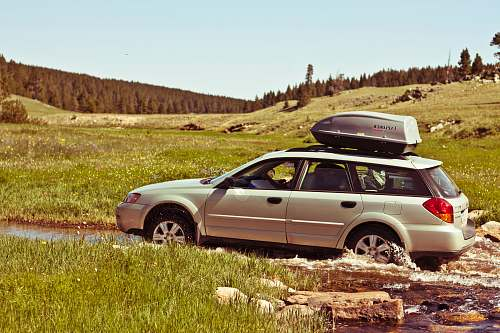 road person driving silver SUV on road in open field at dytime bighorn mountains