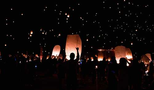 moapa river indian reservation group of people holding lanterns united states