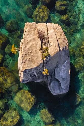 nature brown rock on body of water ocean